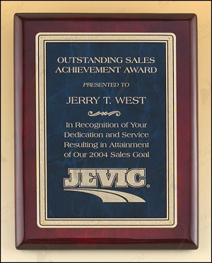 Rosewood Piano Finish Plaque with Marble Design Brass Plate 10-1/2