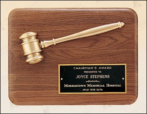 "American Walnut Plaque with Antique Bronze Gavel 9"" Wide X 12"" Tall"