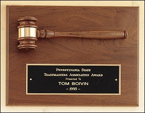 "American Walnut Plaque with Walnut Gavel 9"" Wide X 12"" Tall"
