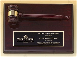 Rosewood Piano Finish Gavel Plaque 9