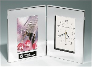 Combination Clock and Photo Frame in Polished Silver Aluminum. 6-1/4