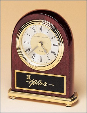 "Rosewood Piano Finish Desk Clock on a Brass Base 4"" Wide X 5"" Tall"