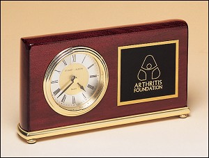 "Rosewood Piano Finish Desk Clock on a Brass Base. 4"" Tall X 7-5/8"" Wide"