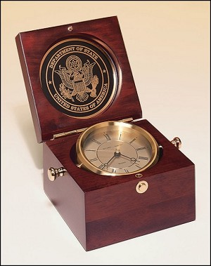 "Captain's Clock Hand Rubbed Mahogany-finish Case. 5-1/2"" Wide X 5-1/2"" Deep X 3-3/4 Tall"