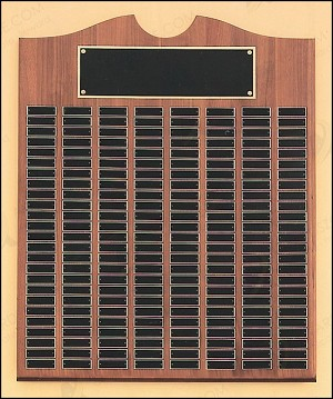 "American Walnut Perpetual Plaque 20"" Wide X 30"" Tall 100  Plates"