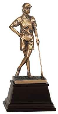 "9"" Bronze Female Golf Resin Award"
