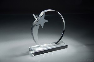 Optic Crystal Round Shooting Star Award
