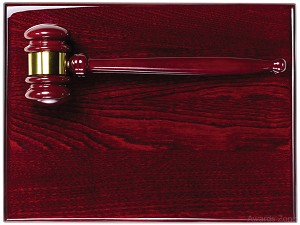"9"" x12""Tall Piano Finish Gavel Corporate Plaque"