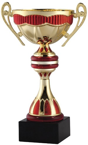 "10 1/2""Tall Gold and Red Metal Cup on Black Base"
