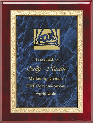 "9"" x 12"" Assembled Plaque with Blue Plate"