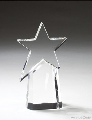 "4 1/2"" X 7 1/2"" Tall Shooting Star On Prism Base"