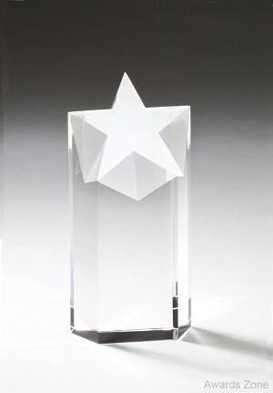 "3"" x 6 1/2""Tall Crystal with Star"