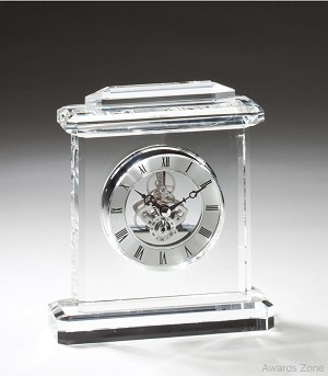 "5 1/2"" x 6 3/4""Tall Crystal Clock with Arch Top"