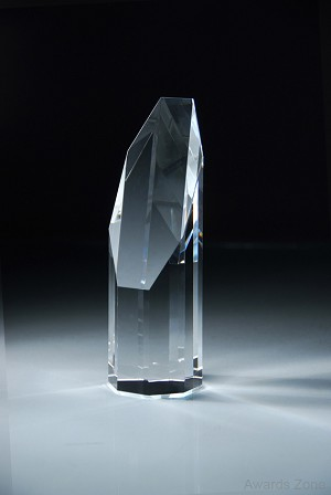 "2 1/4"" X 7 1/2"" Tall Crystal Shard W/Slant Side Lg"