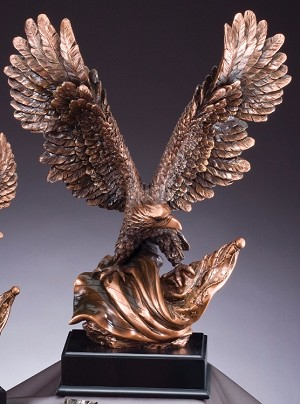 Bronze Eagle Trophy With Flag