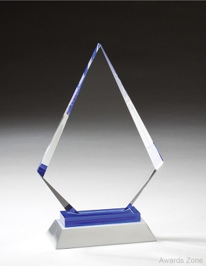 "10 1/4"" Tall Arrow Glass W/Blue Aluminum"
