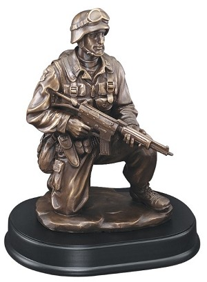 "10"" Tall Soldier Trophy Kneeling With Rifle Down"
