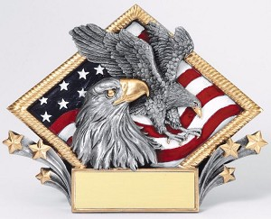 "7 1/2"" X 6""Tall Resin Diamond Plate Eagle"