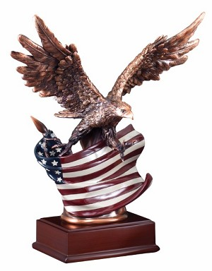 "10""Tall Eagle With Flag Wing Span"