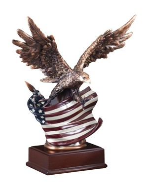 "15 1/2""Tall Resin Eagle With Flag"