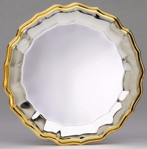 "10"" Silver Plated Tray with Gold Border"