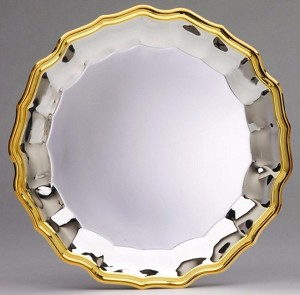 "`12"" Silver Plated Tray with Gold Border"