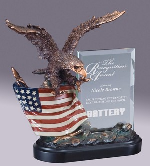 "10"" Tall Eagle On Flag With Glass Plaque"
