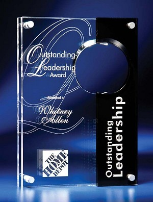 "10"" tall Circle Cutout Clear and Black Acrylic Award"