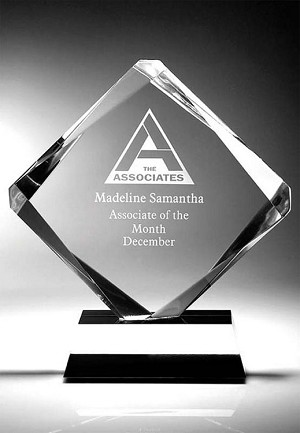 "10"" tall Achievement Diamond Clear Acrylic Award"