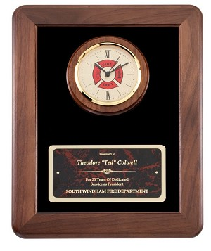 Fireman Clock Plaque