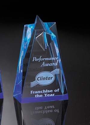 Corporate Acrylic Series Blue Star Award  Small