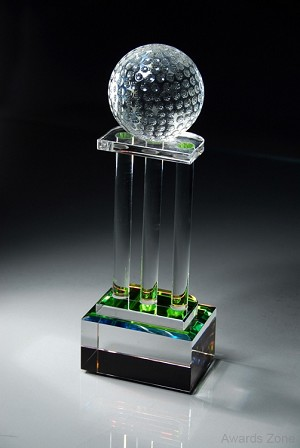 Prismatic Golf Trophy Three Column with Golf Ball