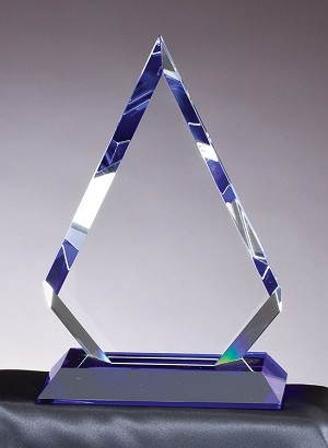 Optical Crystal Award Cool Blue Series Half Star