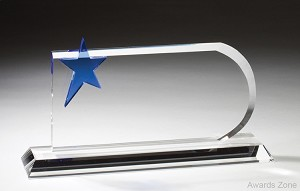 Optical Crystal Award Cool Blue Star
