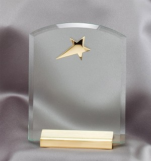 Crystal Desk Accessory with Brass Star