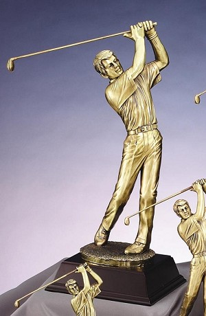 Gold Metallic Casting Resin Sculpture Male Golf Swing
