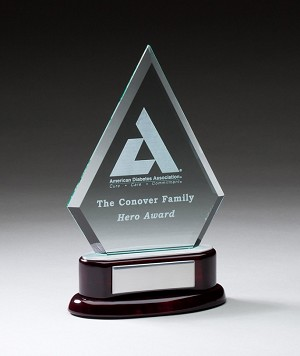 Employee Recognition Glass Trophy Award Diamond Large