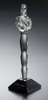 Figure with Hemisphere Crystal Award