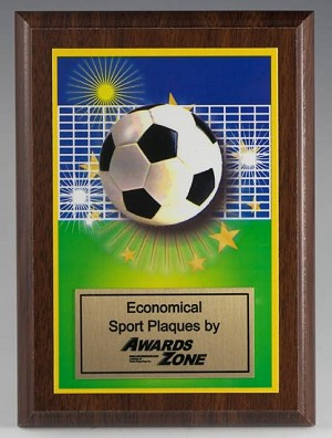 Economy Soccer Full Color Mylar Plaque