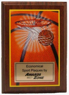 Economy Basketball Full Color Mylar Plaque