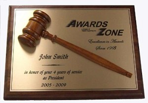 Walnut Half Gavel Plaque